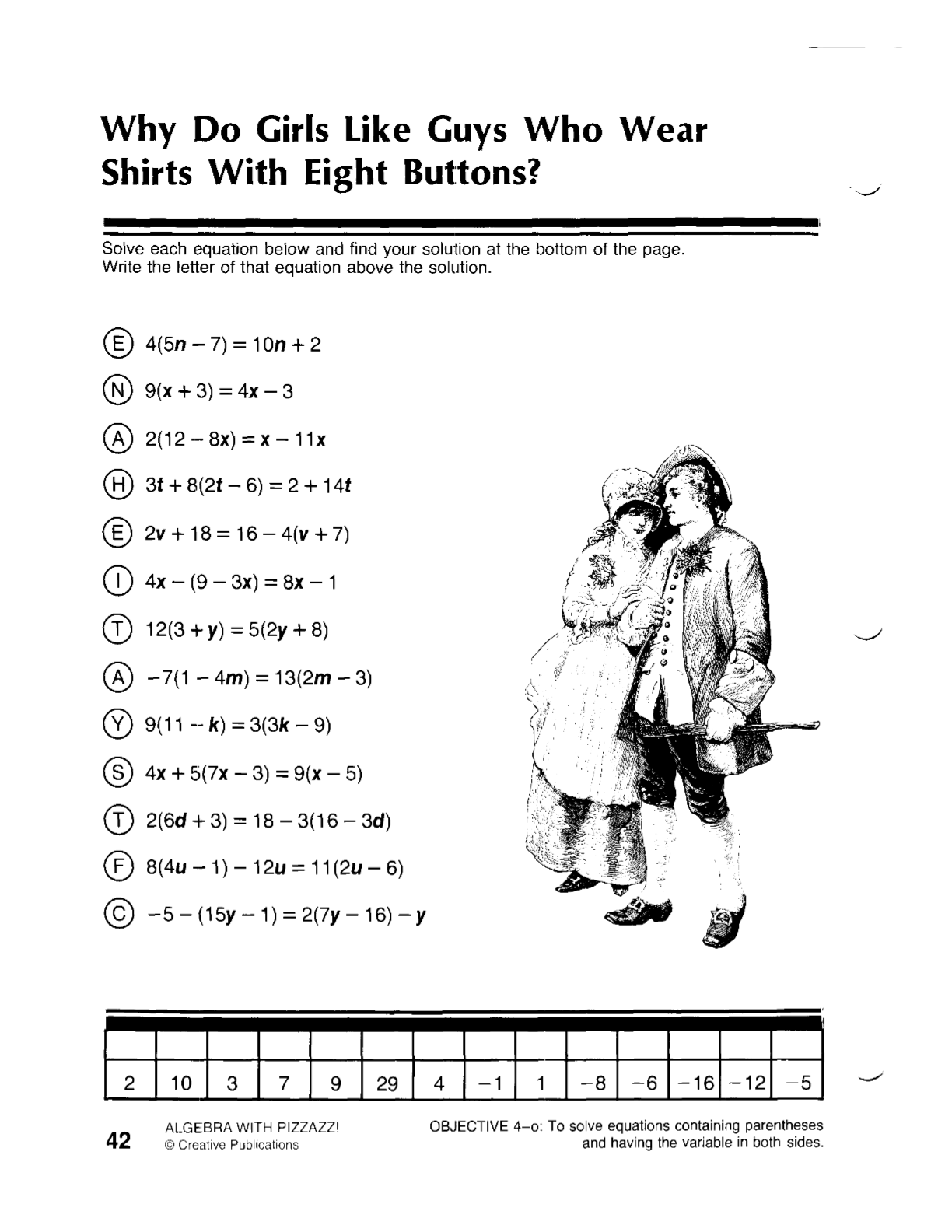 Algebra I MR g – 2 Step Equation Worksheet